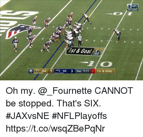 7/11, Memes, and Nfl: NFL  AFC CHAMP  12  ist & Goal 2  :02  7NE 3 2ND 7:11 2 1ST & GOAL Oh my. @_Fournette CANNOT be stopped.  That's SIX. #JAXvsNE #NFLPlayoffs https://t.co/wsqZBePqNr