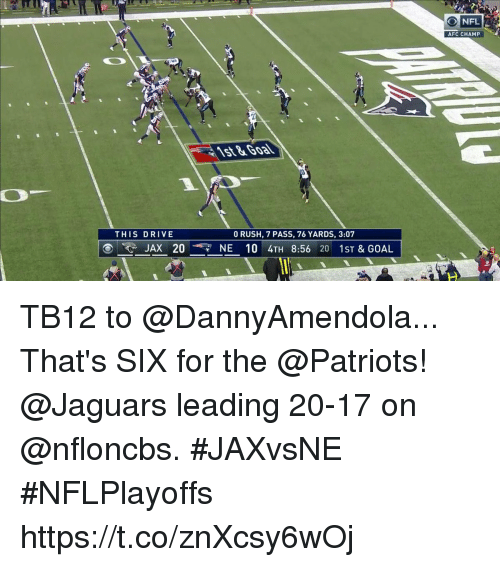 Memes, Nfl, and Patriotic: NFL  AFC CHAMP  THIS DRIVE  0 RUSH, 7 PASS, 76 YARDS, 3:07  で  JAX 20NE 10 4TH 8:56 20 1ST & GOAL TB12 to @DannyAmendola...  That's SIX for the @Patriots!  @Jaguars leading 20-17 on @nfloncbs. #JAXvsNE #NFLPlayoffs https://t.co/znXcsy6wOj