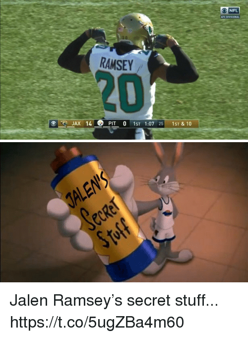 Nfl, Stuff, and Jax: NFL  AFC DIVISIONAL  RAMSEY  20  .. JAX 14  PIT O 1ST 1:07 25-1ST & 10   ALEN'S Jalen Ramsey's secret stuff... https://t.co/5ugZBa4m60