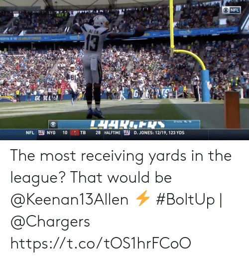 Memes, Nfl, and Chargers: NFL  ALLEN  13  SPATAL F THE LNES CSS  80  1G  GO 3OL  TARENS  2ND &  NFL ny NYG  28 HALFTIME ny D. JONES: 12/19, 123 YDS  10  TB The most receiving yards in the league? That would be @Keenan13Allen ⚡️  #BoltUp | @Chargers https://t.co/tOS1hrFCoO