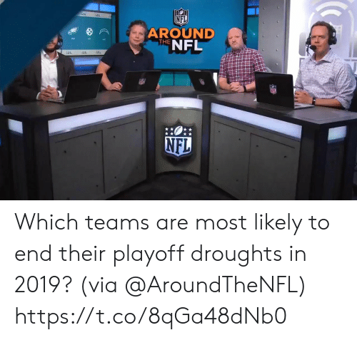 Memes, Nfl, and 🤖: NFL  AROUND  THENFL Which teams are most likely to end their playoff droughts in 2019? (via @AroundTheNFL) https://t.co/8qGa48dNb0