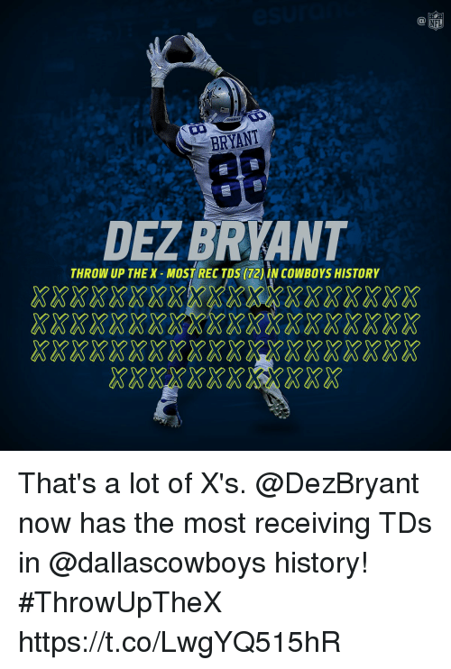 Dallas Cowboys, Dez Bryant, and Memes: NFL  BRYANT  DEZ BRYANT  THROW UP THE X MOST RECTDS (72) IN COWBOYS HISTORY  202020202020202020202020202020202020  20202020202020202020 2020202020202020 That's a lot of X's.  @DezBryant now has the most receiving TDs in @dallascowboys history!  #ThrowUpTheX https://t.co/LwgYQ515hR