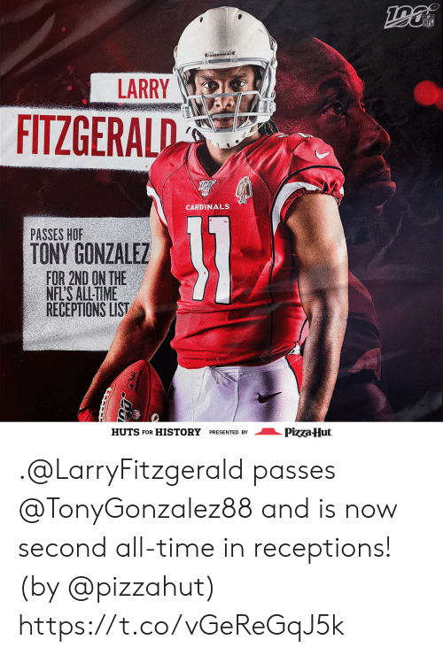 Larry Fitzgerald, Memes, and Nfl: NFL  CARDINALS  LARRY  FITZGERALD  CARDINALS  31  PASSES HOF  TONY GONZALEZ  FOR 2ND ON THE  NFL'S ALL-TIME  RECEPTIONS LIST  Pizza Hut  HUTS FOR  HISTORY  PRESENTED BY .@LarryFitzgerald passes @TonyGonzalez88 and is now second all-time in receptions! (by @pizzahut) https://t.co/vGeReGqJ5k