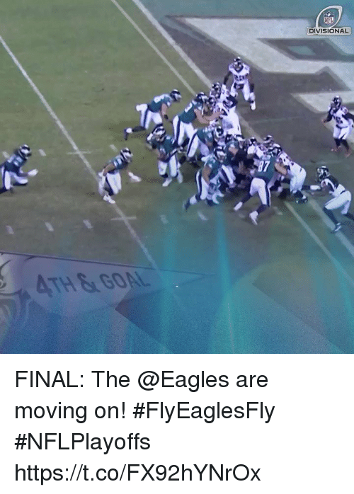 Philadelphia Eagles, Memes, and Nfl: NFL  DIVISIONAL FINAL: The @Eagles are moving on! #FlyEaglesFly #NFLPlayoffs https://t.co/FX92hYNrOx