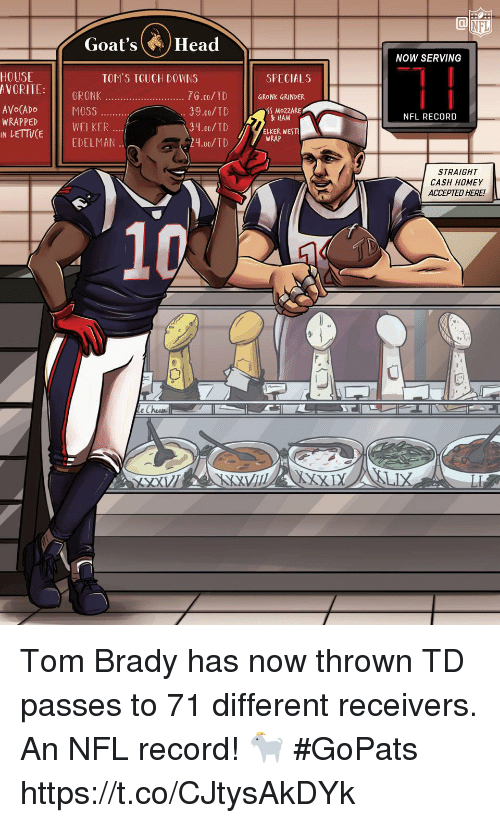 Goals, Head, and Homey: NFL  Goal's (A.) Head  NOW SERVING  HOUSE  AVORITE: GRONK  SPECIALS  76.00/TD  39.00/T  34.00/TD  21.00/TD  GRONK GRINDER  SS MoZZARE  HAM  NFL RECORD  WRAPPED  IN  LETTVCEWELKER  ELKER WEST  WRAP  EDELMAN  STRAIGHT  CASH HOMEY  ACCEPTED HERE! Tom Brady has now thrown TD passes to 71 different receivers.  An NFL record! 🐐 #GoPats https://t.co/CJtysAkDYk