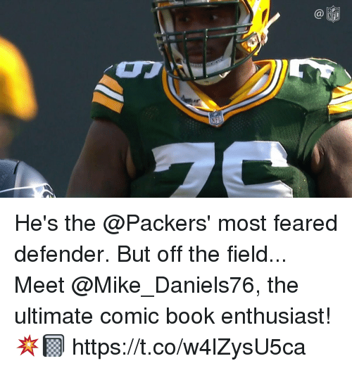 Memes, Nfl, and Book: NFL He's the @Packers' most feared defender. But off the field...  Meet @Mike_Daniels76, the ultimate comic book enthusiast! 💥📓 https://t.co/w4lZysU5ca