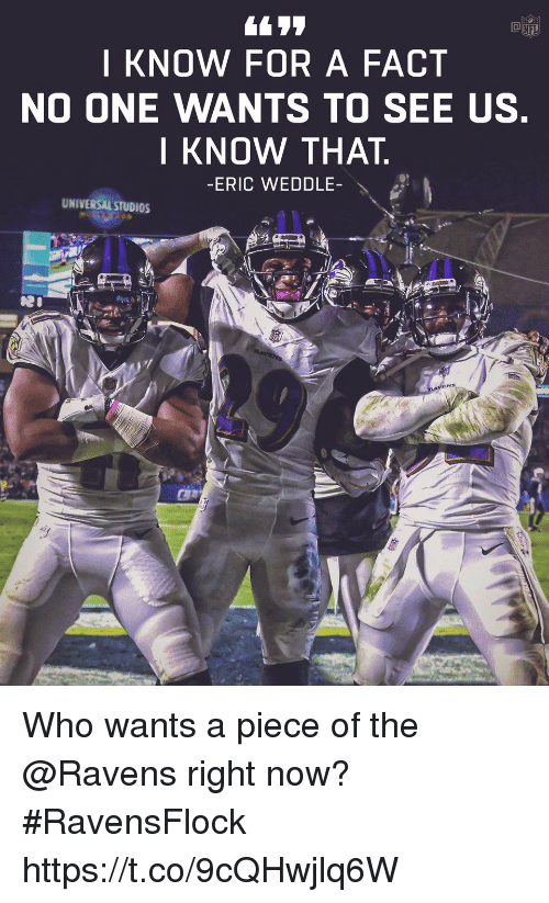 Memes, Nfl, and Ravens: NFL  I KNOW FOR A FACT  NO ONE WANTS TO SEE US  I KNOW THAT  -ERIC WEDDLE-  UNIVERSAL STUDIOS Who wants a piece of the @Ravens right now?  #RavensFlock https://t.co/9cQHwjlq6W