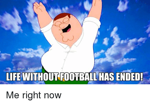 Meme-Life, End Me, and Me Right Now: @NFL MEMES  LIFE WITHOUT FOOTBALL HAS ENDED! Me right now