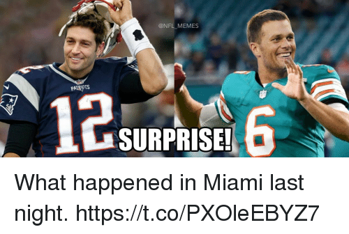 Memes, Nfl, and Patriotic: @NFL MEMES  PATRIOTS  12  SURPRISE! What happened in Miami last night. https://t.co/PXOleEBYZ7