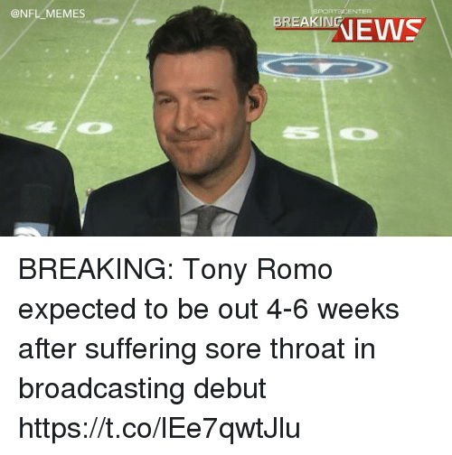 nfl memes portscenter ranews breaking tony romo expected to be 27622459 memes portscenter ranews breaking tony romo expected to be out 4 6,Tony Romo Memes