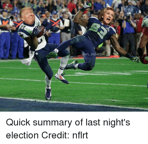 Nfl, Credited, and Election: NFL MEMES Quick summary of last night's election  Credit: nflrt