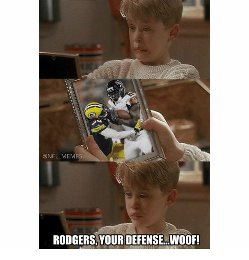 Memes, 🤖, and Woof: @NFL MEMES  RODGERS, YOUR DEFENSE WOOF!