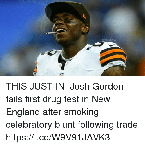 e848439d8 England, Football, and Memes: @NFL MEMES THIS JUST IN: Josh Gordon. THIS  JUST IN: Josh Gordon fails first drug test in New England after smoking  celebratory ...