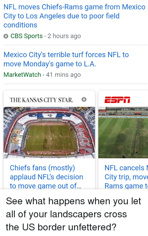 NFL Moves Chiefs-Rams Game From Mexico City to Los Angeles Due to ... e92ae108858