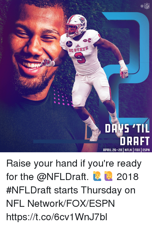 Espn, Memes, and Nfl: NFL  NC STATE  DRAFT  APRIL 26-28 | NFLN | FOX | ESPN Raise your hand if you're ready for the @NFLDraft. 🙋‍♂️🙋  2018 #NFLDraft starts Thursday on NFL Network/FOX/ESPN https://t.co/6cv1WnJ7bl
