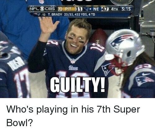 Super Bowl, Tom Brady, and Bowling: NFL OCBS  PIT NE 42 4TH 5:15  12 T BRADY 23/33,432 YDS, 4 TD  GUILTY Who's playing in his 7th Super Bowl?