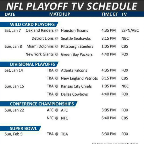 Abc Atlanta Falcons And Dallas Cowboys NFL PLAYOFF TV SCHEDULE DATE MATCHUP TIME