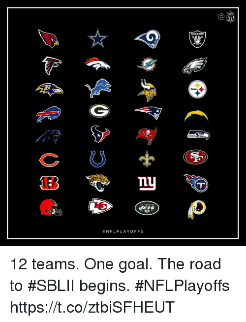 Memes, Nfl, and Goal: NFL  RAIDERS  Steelers  nu  12 teams. One goal.  The road to #SBLII begins. #NFLPlayoffs https://t.co/ztbiSFHEUT