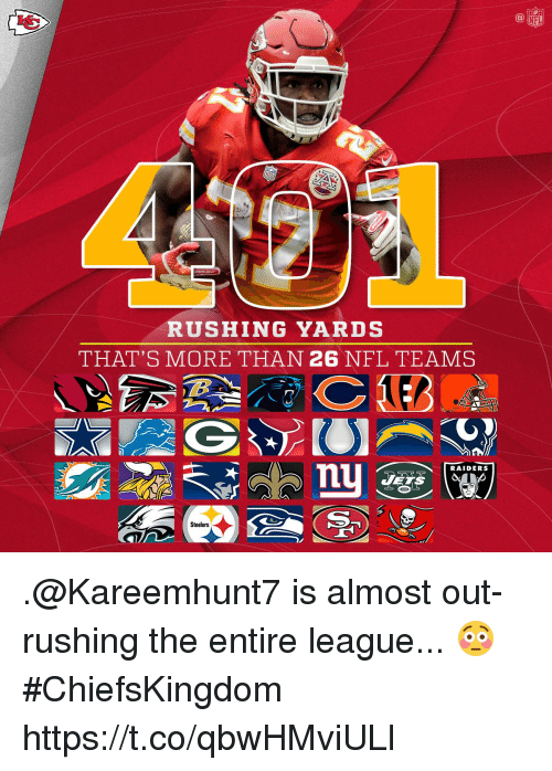 Memes, Nfl, and Raiders: NFL  RUSHING YARDS  THAT'S MORE THAN 26 NFL TEAMS  RAIDERS  Steelers .@Kareemhunt7 is almost out-rushing the entire league... 😳  #ChiefsKingdom https://t.co/qbwHMviULl