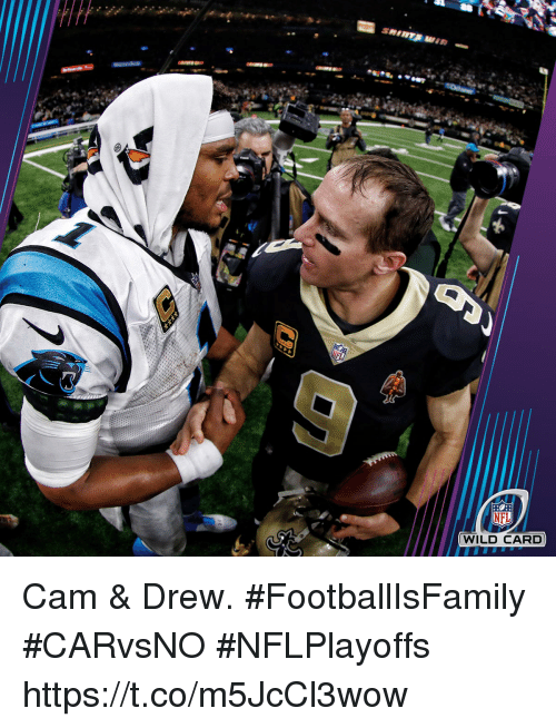 Memes, Nfl, and Wild: NFL  WILD CARD Cam & Drew. #FootballIsFamily  #CARvsNO #NFLPlayoffs https://t.co/m5JcCl3wow