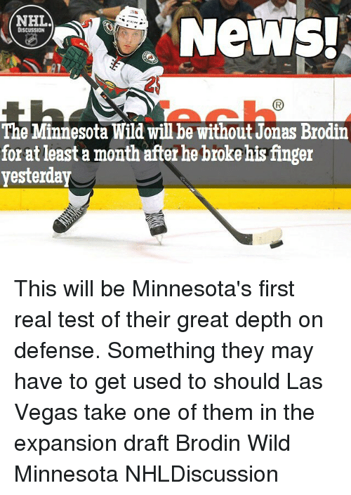 NHL DISCUSSION the Minnesota Wild Will Be Without Jonas Brodin for ... 77279f726