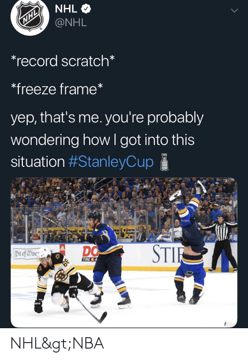 Nhl Nhl Record Scratch Freeze Frame Yep That S Me You Re Probably