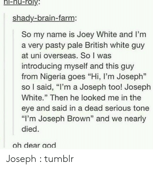 "Tumblr, Brain, and Nigeria: ni-nu-roly  shady-brain-farm:  So my name is Joey White and I'm  a very pasty pale British white guy  at uni overseas. So I was  introducing myself and this guy  from Nigeria goes ""Hi, I'm Joseph""  so I said, ""I'm a Joseph too! Joseph  White."" Then he looked me in the  eye and said in a dead serious tone  ""I'm Joseph Brown"" and we nearly  died  oh dear aod Joseph : tumblr"
