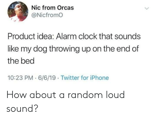 Nic From Orcas Product Idea Alarm Clock That Sounds Like My