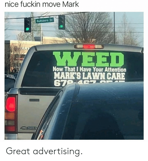 Memes, Nice, and 🤖: nice fuckin move Mark  Bullsboro Dr  Now That I Have Your Attention  MARK'S LAWN CARE Great advertising.