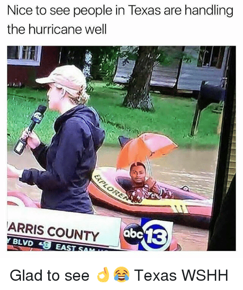 Memes, Wshh, and Hurricane: Nice to see people in Texas are handling  the hurricane well  ARRIS COUNTY  abe 13  BLVDEA Glad to see 👌😂 Texas WSHH