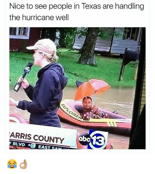Funny, Hurricane, and Texas: Nice to see people in Texas are handling  the hurricane well  ARRIS COUNTY  abe13  BLVD E EA 😂👌🏽