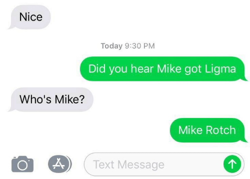 Text, Today, and Nice: Nice  Today 9:30 PM  Did you hear Mike got Ligma  Who's Mike?  Mike Rotch  Text Message