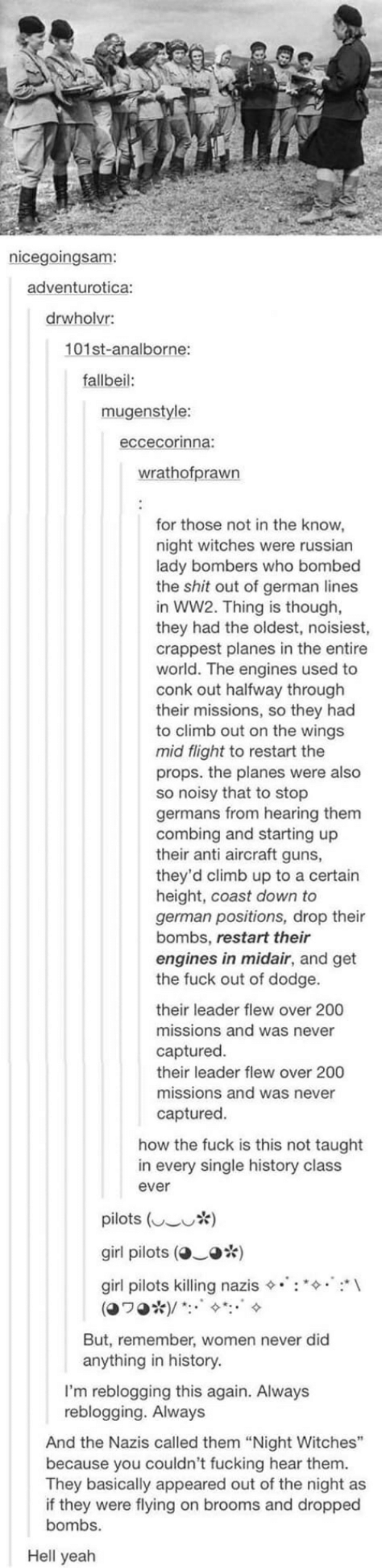 """Fucking, Guns, and Shit: nicegoingsam:  adventurotica:  drwholvr:  101st-analborne:  fallbeil:  mugenstyle:  eccecorinna:  wrathofprawn  for those not in the know  night witches were russian  lady bombers who bombed  the shit out of german lines  in WW2. Thing is though,  they had the oldest, noisiest,  crappest planes in the entire  world. The engines used to  conk out halfway through  their missions, so they had  to climb out on the wings  mid flight to restart the  props. the planes were also  so noisy that to stop  germans from hearing them  combing and starting up  their anti aircraft guns,  they'd climb up to a certain  height, coast down to  german positions, drop their  bombs, restart their  engines in midair, and get  the fuck out of dodge.  their leader flew over 200  missions and was never  captured.  their leader flew over 200  missions and was never  captured  how the fuck is this not taught  in every single history class  ever  pilots ( *)  girl pilots (  o*)  girl pilots killing nazis  (O70* ) / :  But, remember, women never did  anything in history.  I'm reblogging this again. Always  reblogging. Always  And the Nazis called them """"Night Witches""""  because you couldn't fucking hear them.  They basically appeared out of the night as  if they were flying on brooms and dropped  bombs.  Hell yeah"""