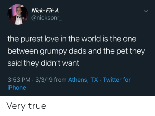 Iphone, Love, and True: Nick-Fil-A  @nicksonn  the purest love in the world is the one  between grumpy dads and the pet they  said they didn't want  3:53 PM-3/3/19 from Athens, TX Twitter for  iPhone Very true