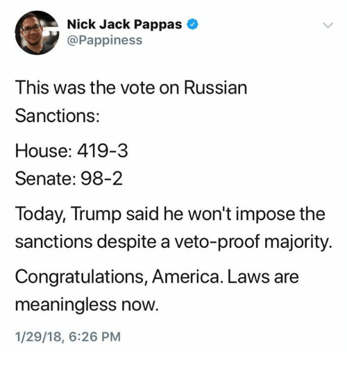 Nick Jack Pappas This Was the Vote on Russian Sanctions ...