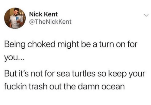 Trash, Nick, and Ocean: Nick Kent  @TheNickKent  Being choked might be a turn on for  you...  But it's not for sea turtles so keep your  fuckin trash out the damn ocean