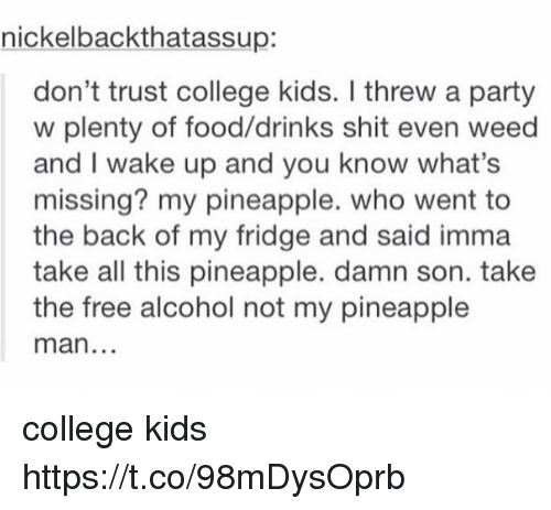College, Food, and Memes: nickelbackthatassup:  don't trust college kids. I threw a party  w plenty of food/drinks shit even weed  and I wake up and you know what's  missing? my pineapple. who went to  the back of my fridge and said imma  take all this pineapple. damn son. take  the free alcohol not my pineapple  man college kids https://t.co/98mDysOprb