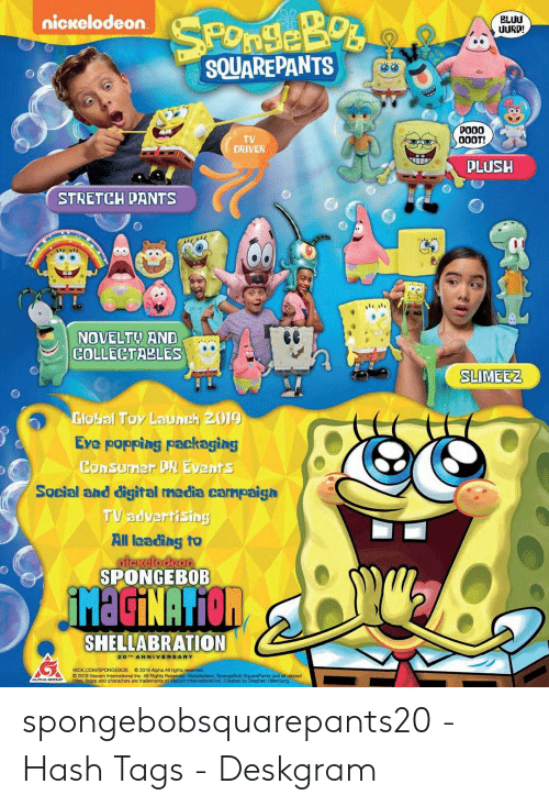 Nickelodeon BLUU UURD! SQUAREPANTS POOO TV DRIVER PLUSH STRETCH