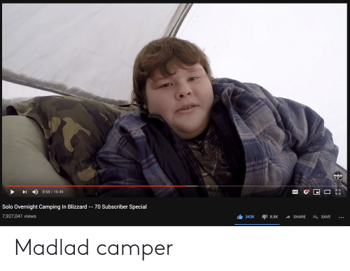 Blizzard, Green, and Solo: NICKOLAS GREEN  OUTDOORS  I D 8:58/16:49  HD  Solo Overnight Camping In Blizzard - - 70 Subscriber Special  7,927,041 views  343K 8.8K SHARE SAVE... Madlad camper