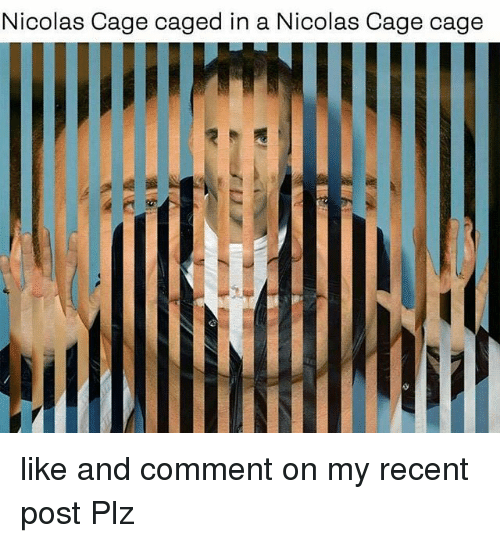 Nicolas Cage, Comment, and Comments: Nicolas Cage caged in a Nicolas Cage cage like and comment on my recent post Plz