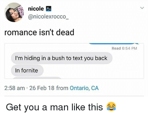Funny, Text, and Back: nicole  @nicolexrocco  romance isn't dead  Read 6:54 PM  I'm hiding in a bush to text you back  In fornite  2:58 am 26 Feb 18 from Ontario, CA Get you a man like this 😂