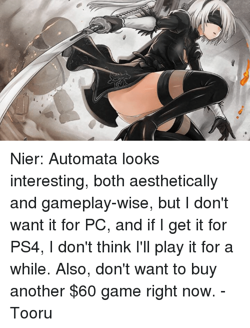 Nier Automata Looks Interesting Both Aesthetically and