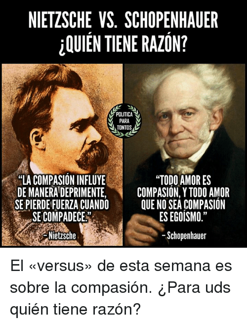 comparing nietzsche and schopenhauers attitudes towards life Contra nietzsche, schopenhauer deplores the cultivation of indifference towards the suffering of others on the basis of his metaphysics, schopenhauer was led to advocate quietism and resignation as an attitude to life as is well known, nietzsche held schopenhauer's views on this.