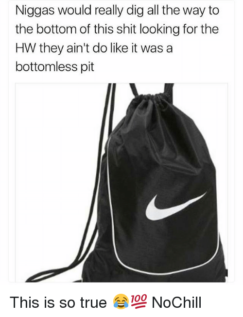 Funny, Shit, and True: Niggas would really dig all the way to  the bottom of this shit looking for the  HW they ain't do like it was a  bottomless pit This is so true 😂💯 NoChill