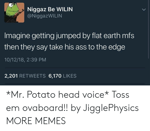 Ass, Dank, and Head: Niggaz Be WILIN  @NiggazWILIN  Imagine getting jumped by flat earth mfs  then they say take his ass to the edge  10/12/18, 2:39 PM  2,201 RETWEETS 6,170 LIKES *Mr. Potato head voice* Toss em ovaboard!! by JiggIePhysics MORE MEMES