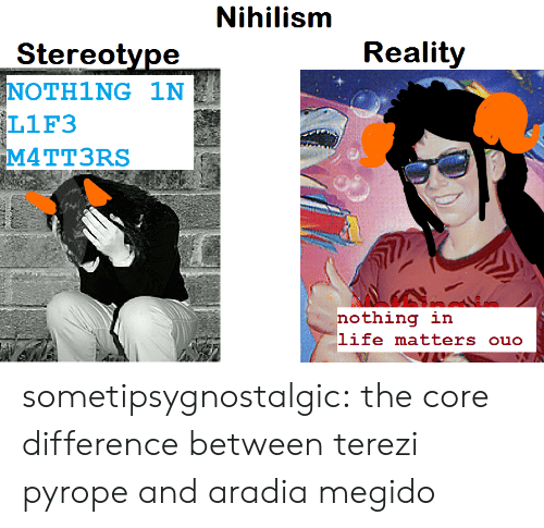 Life, Target, and Tumblr: Nihillissh  Reality  Stereotype  NOTH1NG 1N  L1F3  M4TT3RS  nothing in  life matters ouo sometipsygnostalgic: the core difference between terezi pyrope and aradia megido