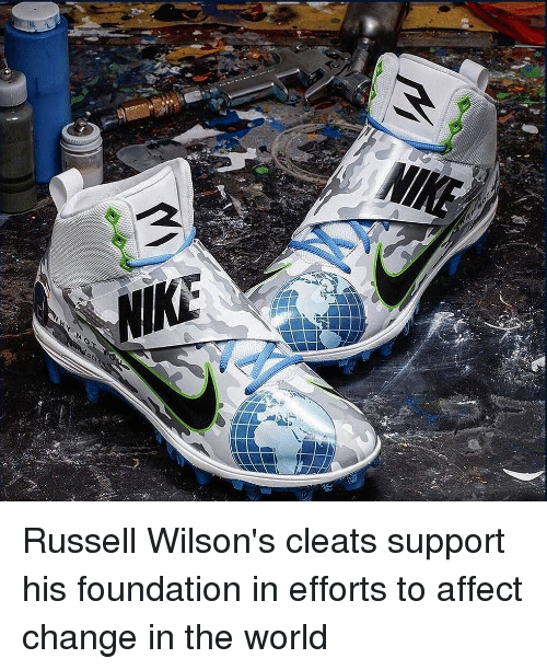 9e77aefc0 NIKE Russell Wilson s Cleats Support His Foundation in Efforts to ...