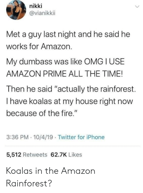"""Amazon, Amazon Prime, and Fire: nikki  @vianikkii  Met a guy last night and he said he  works for Amazon.  My dumbass was like OMG I USE  AMAZON PRIME ALL THE TIME!  Then he said """"actually the rainforest.  I have koalas at my house right now  because of the fire.""""  3:36 PM 10/4/19 Twitter for iPhone  5,512 Retweets 62.7K Likes Koalas in the Amazon Rainforest?"""