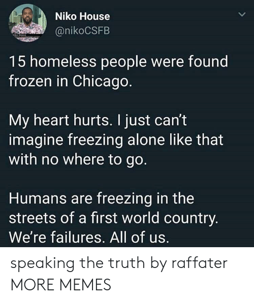 Being Alone, Chicago, and Dank: Niko House  @nikoCSFB  15 homeless people were found  frozen in Chicago  My heart hurts. I just can't  imagine freezing alone like that  with no where to go.  Humans are freezing in the  streets of a first world country  We're failures. All of us. speaking the truth by raffater MORE MEMES