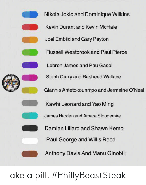 Amar'e Stoudemire, James Harden, and Kevin Durant: Nikola Jokic and Dominique Wilkins  Kevin Durant and Kevin McHale  Joel Embiid and Gary Paytorn  Russell Westbrook and Paul Pierce  Lebron James and Pau Gasol  Steph Curry and Rasheed Wallace  Giannis Antetokounmpo and Jermaine O'Neal  Kawhi Leonard and Yao Ming  James Harden and Amare Stoudemire  Damian Lillard and Shawn Kemp  Paul George and Willis Reed  Anthony Davis And Manu Ginobili Take a pill.   #PhillyBeastSteak